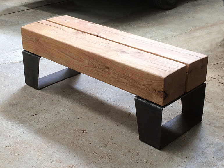oak and steel bench angled legs