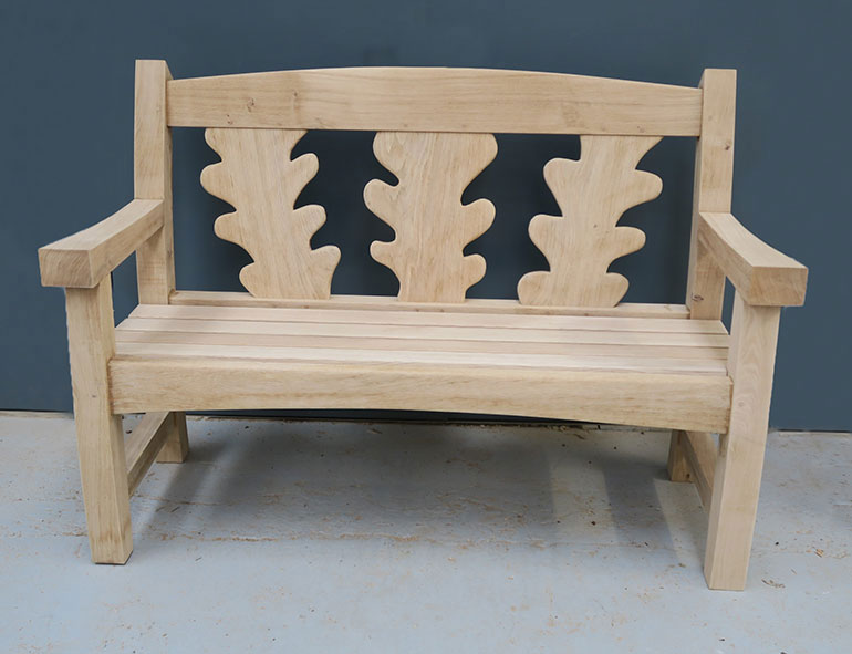 oxford oak goosey bench with carved text