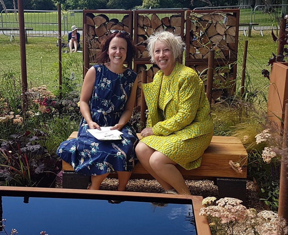 Oak and Steel bench at RHS Show Tatton Park