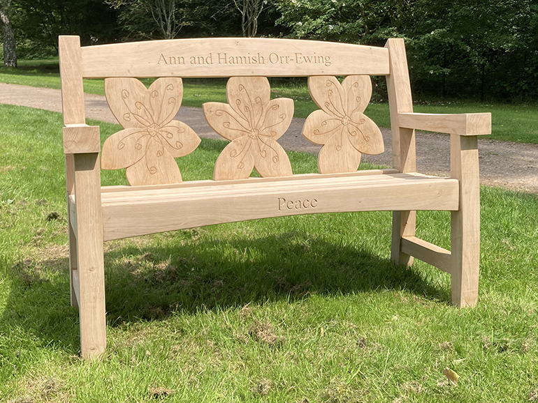 Oak Goosey bench with cherry blossom backrest