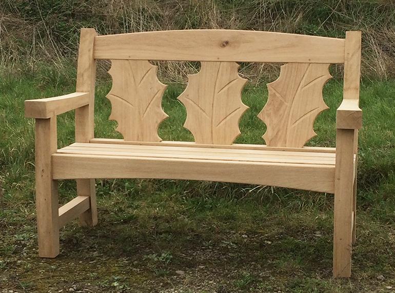 Oak Goosey bench with holly leaf backrest